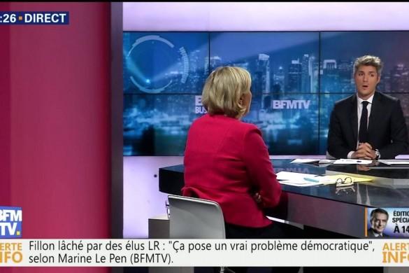 Marine Le Pen accuse BFM TV sur leur antenne de soutenir Emmanuel Macron